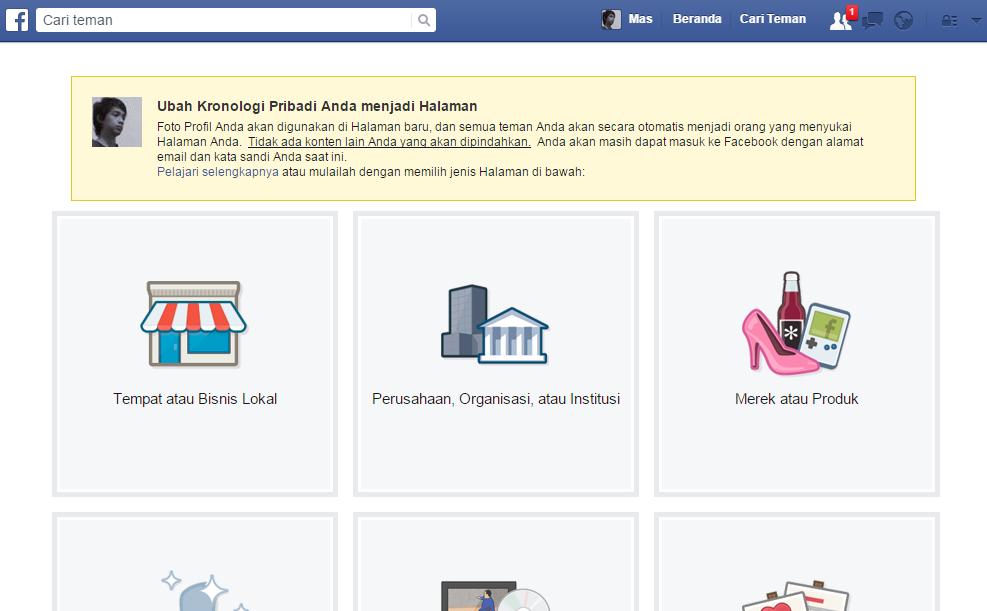 merubah akun facebook menjadi halaman fanspage