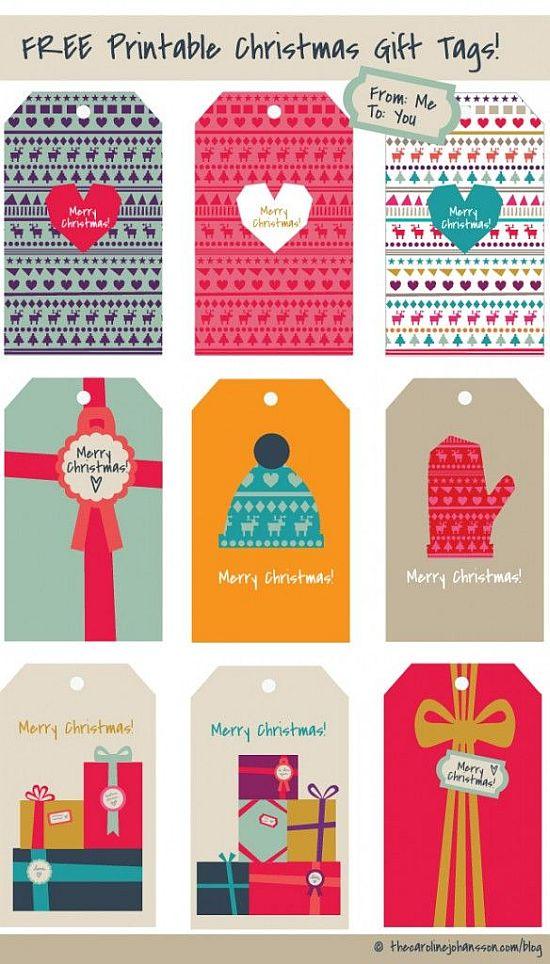 colorful and romantic printable Christmas gift tags for free