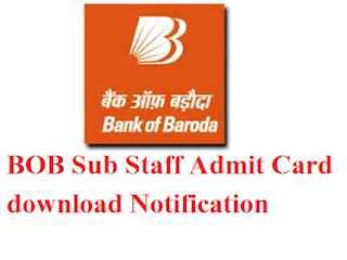 BOB Sub Staff Admit Card 2017