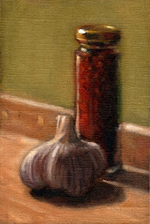 Oil painting of a glass jar of dried chillies beside a garlic bulb.