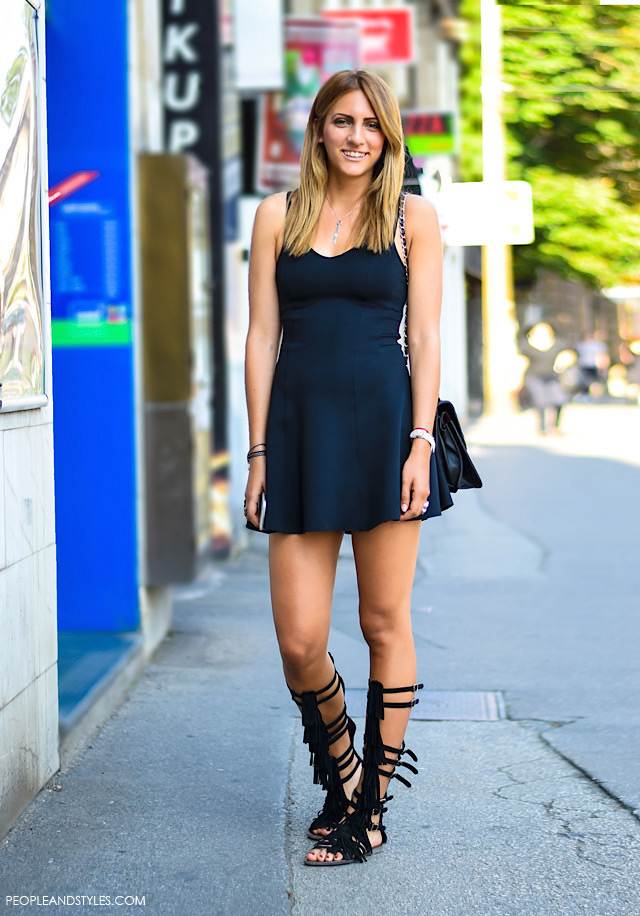 Black Gladiator Sandals With Black Summer Dress - People & Styles