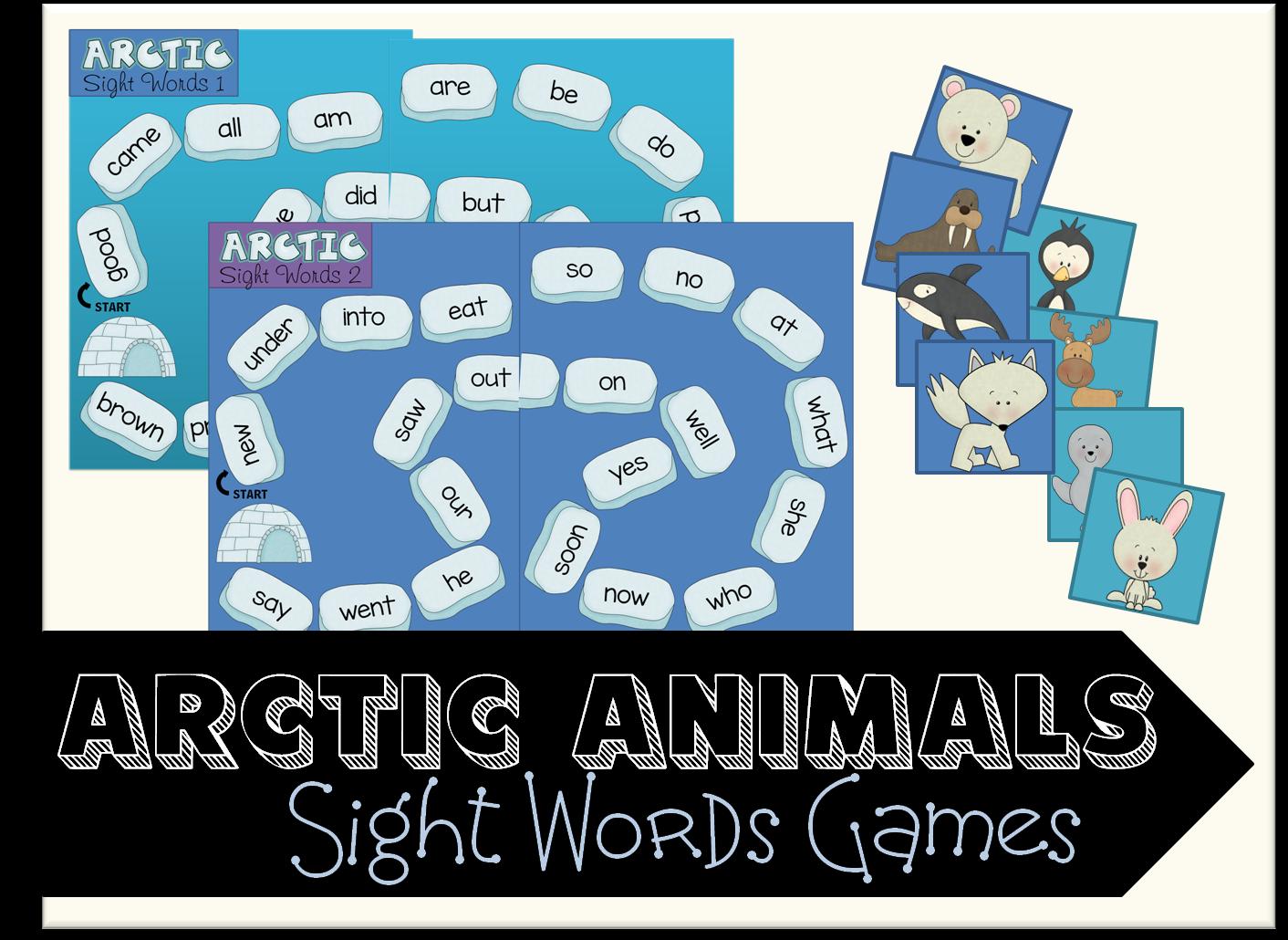 Arctic Animals Sight Words Game