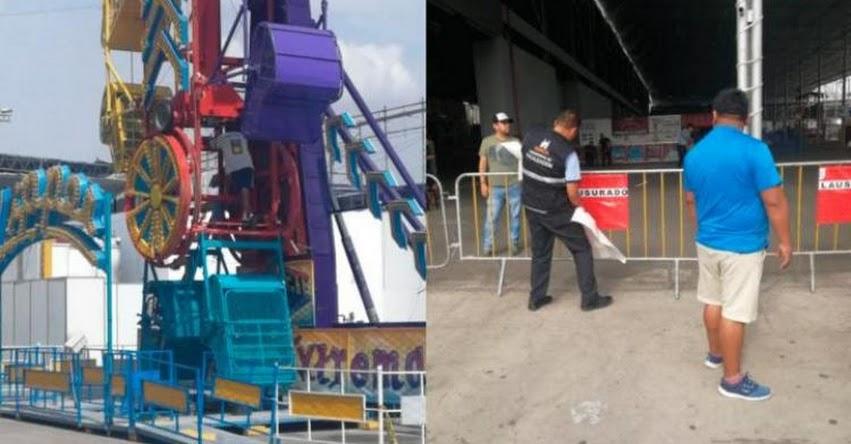 PLAY LAND PARK 2018: Clausuran el parque de diversiones en Surco por alto riesgo
