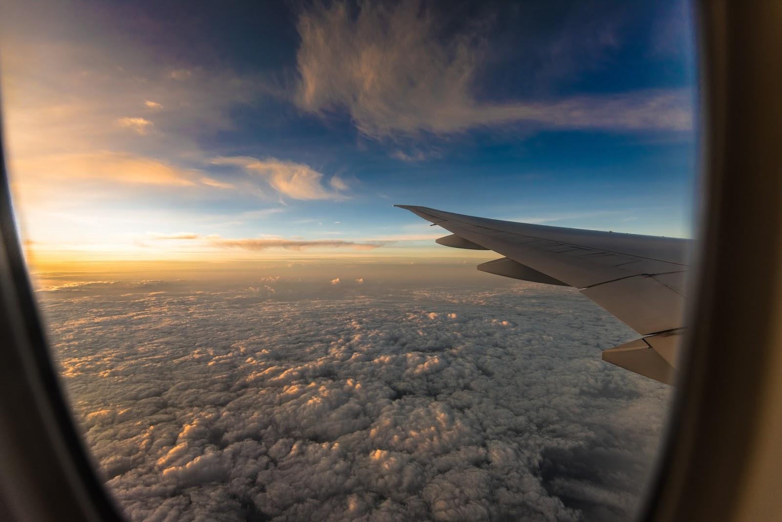 Sunset Airplane Window View Wallpaper