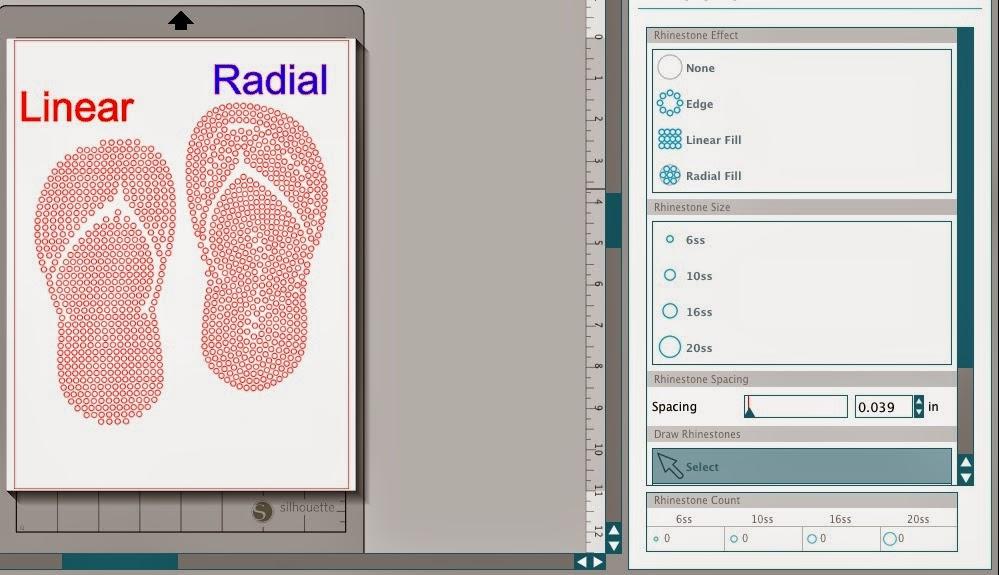 Silhouette Studio, custom, rhinestone designs, Silhouette tutorial, linear, radial, rhinestones