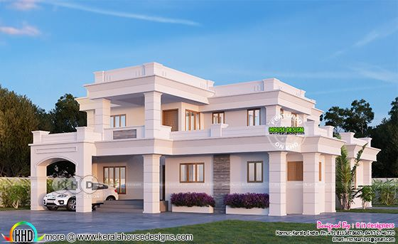 4 bedroom Colonial mix flat roof house architecture