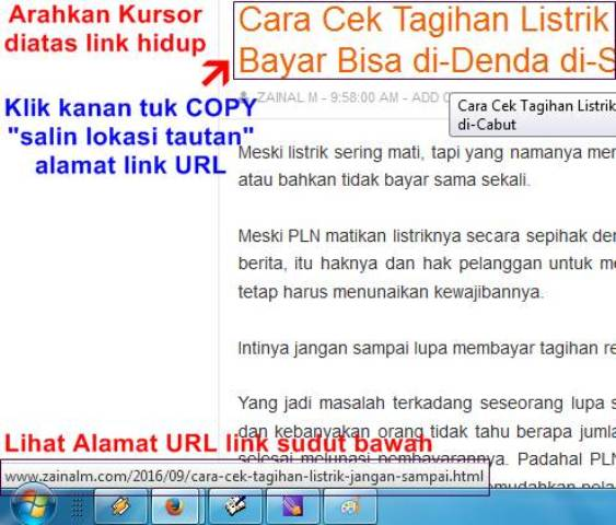 Cara Mengetahui alamat LINK URL artikel