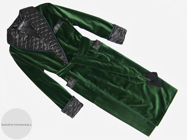 Mens velvet smoking jacket dressing gown quilted silk robe
