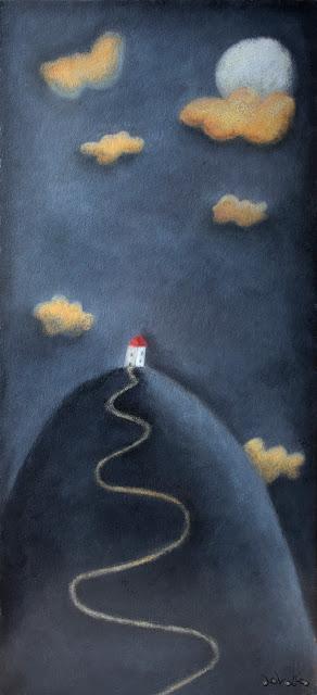 """""""montaña con luna-ilustración-ana sáez del arco-moon in the mountain-illustration"""""""