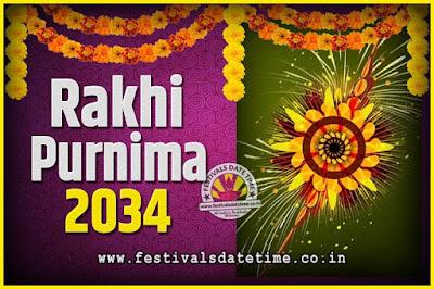 2034 Rakhi Purnima Date and Time, 2034 Rakhi Purnima Calendar