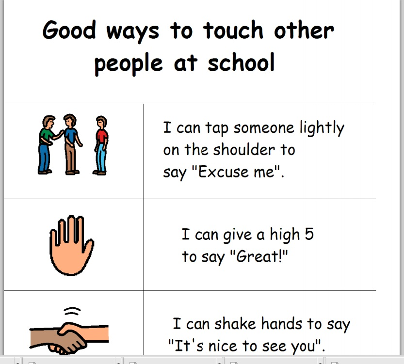 This is a graphic of Printable Social Stories throughout school