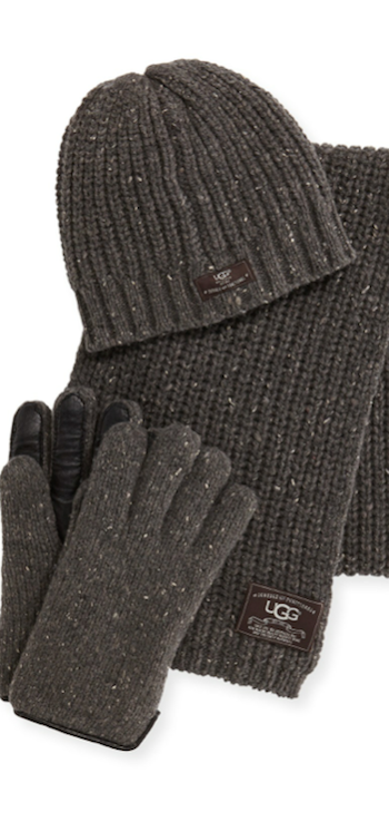 UGG Australia Men's Beanie, Scarf, and Glove Box Set