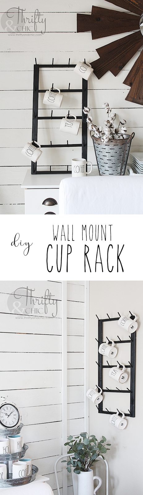 DIY coffee cup display rack. Easy to wall mount! Great way to display Rae Dunn pieces. DIY farmhouse decor