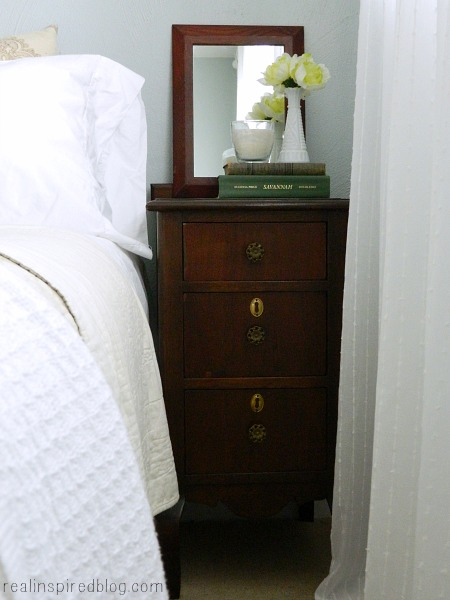 woodlawn sterling blue and white bedroom vintage wooden stained nightstand mirror white bedding curtains