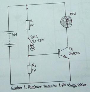 rangkaian transistor NPN sebagai saklar