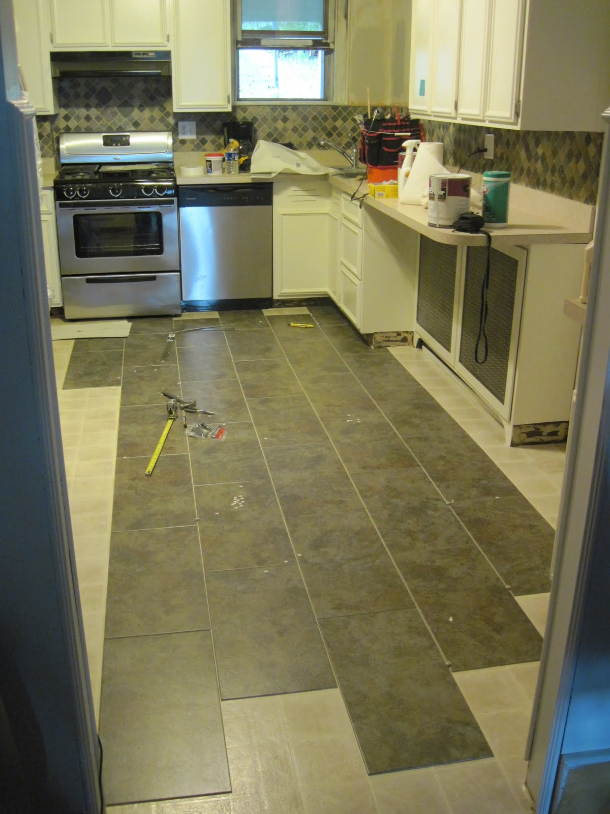 Our Old Abode: Kitchen Floor : Groutable Vinyl Tile