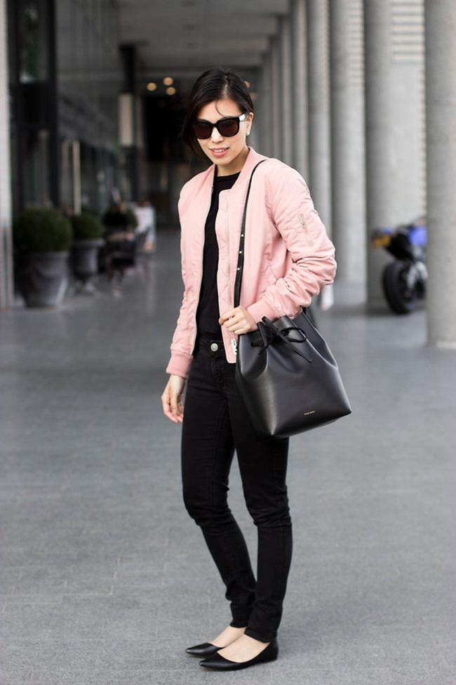Stradivarius 2016 Spring Pink Bomber Jacket