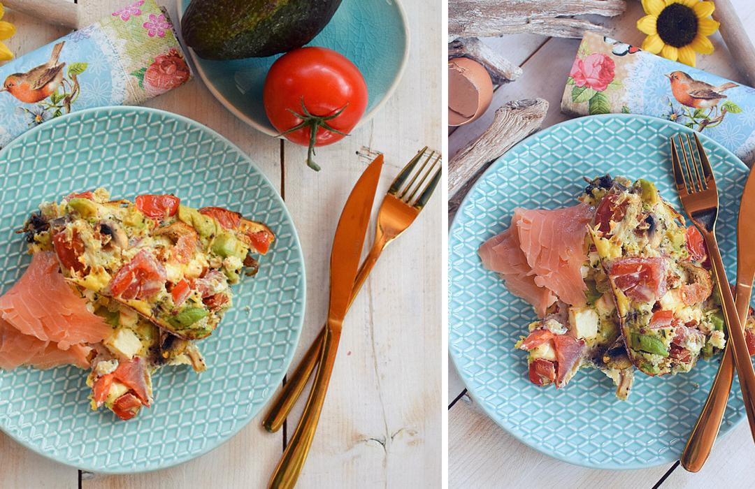 Rezept für ein schnelles, gesundes Essen mit Avocado, Ei und Lachs