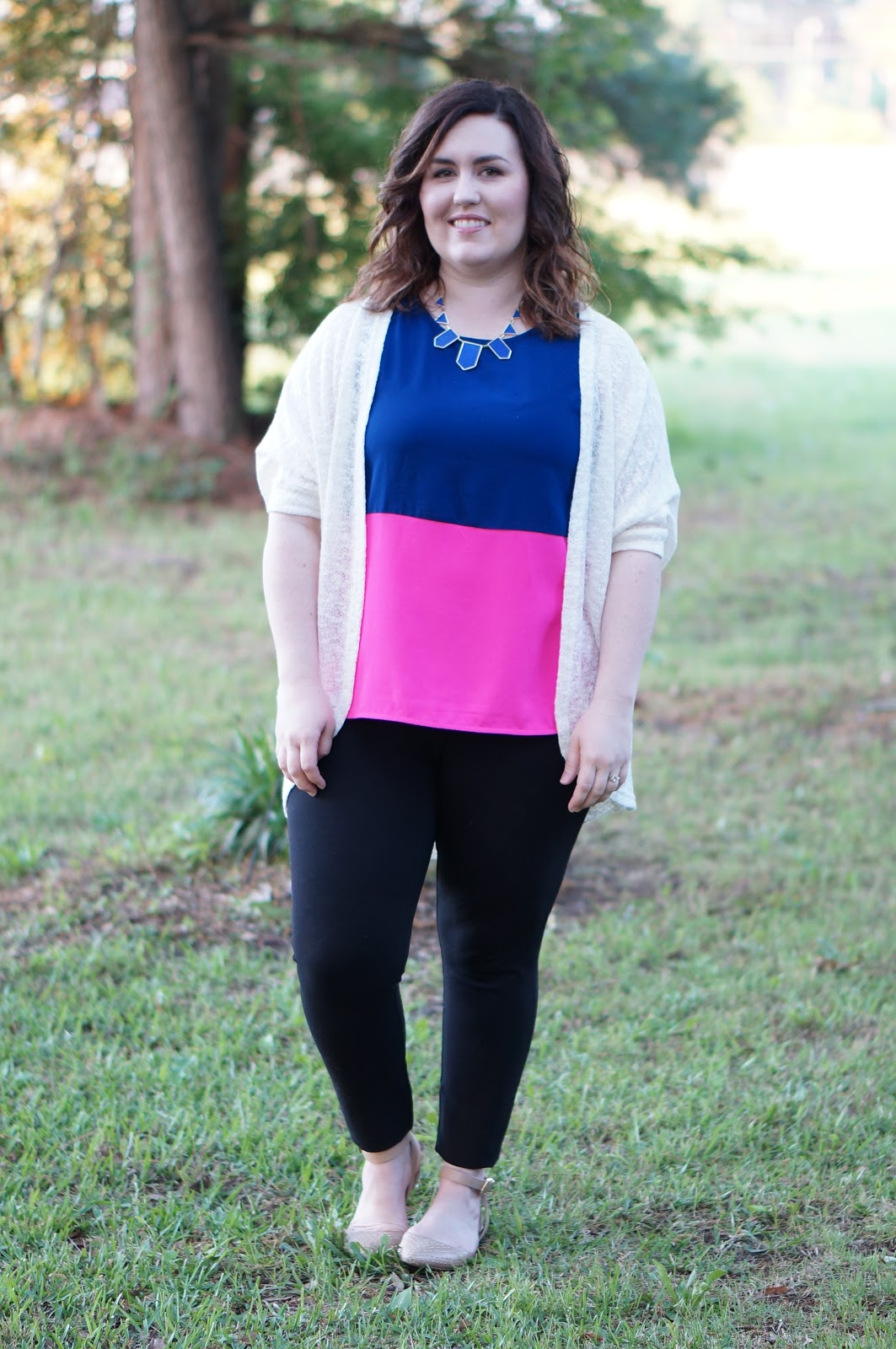 Rebecca Lately Colorblock Top Target Cardigan J. Crew Pixie Pants House of Harlow Stations Necklace Cobalt Blue Sam Edelman Brina