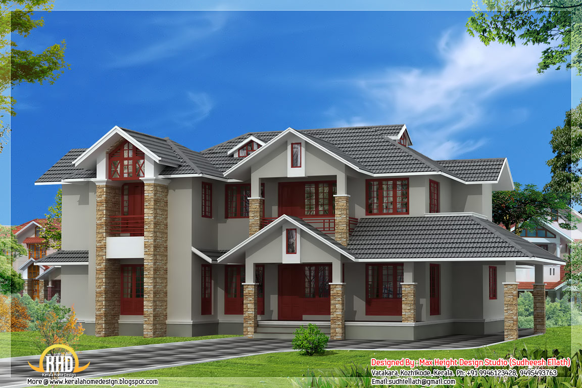4 bedroom indian house design for Home designs indian style