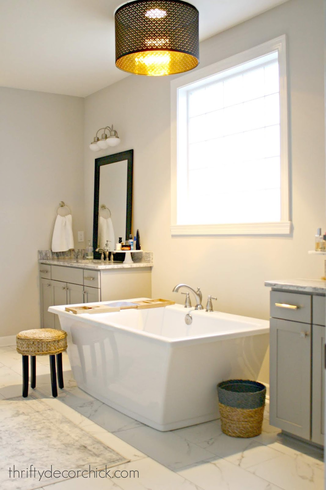 marble tile gray vanities bathroom