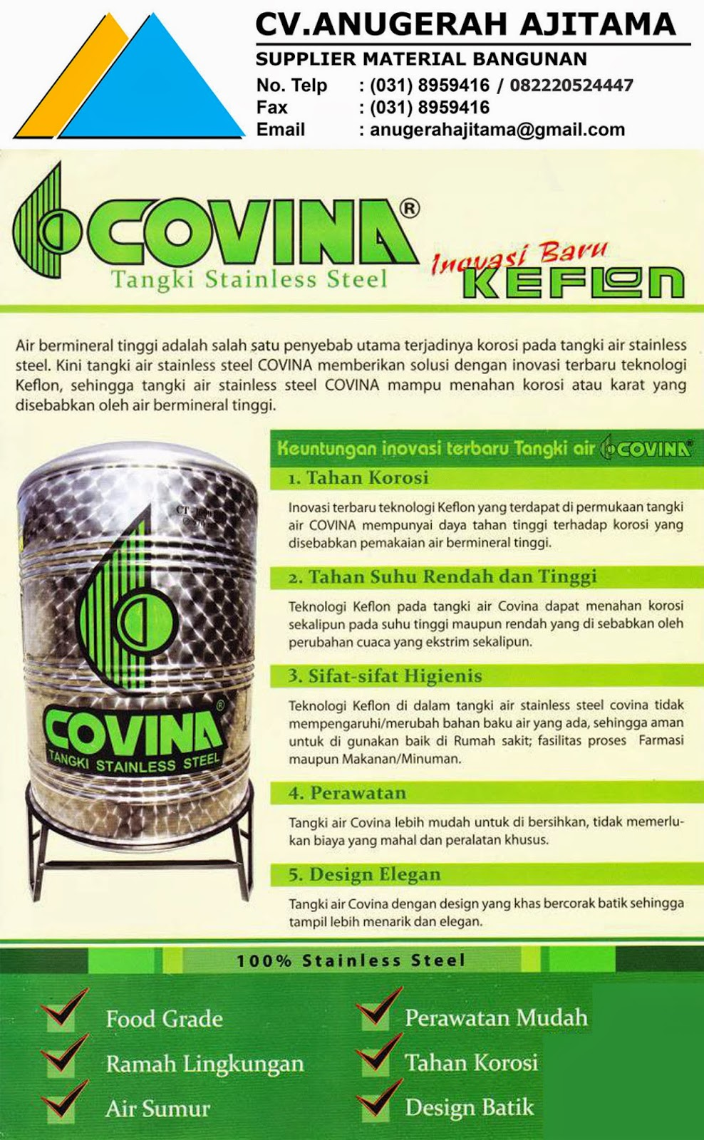 HARGA TANDON AIR STAINLESS COVINA