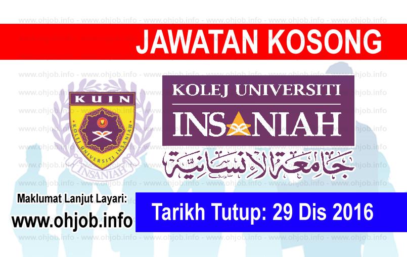 Jawatan Kerja Kosong Kolej Universiti Insaniah (KUIN) logo www.ohjob.info disember 2016