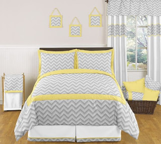 gray and yellow chevron bedding