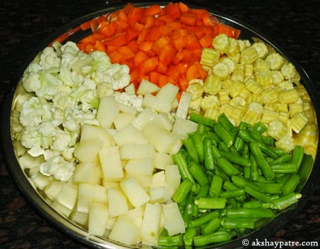 chopped vegetables for  veg kurma