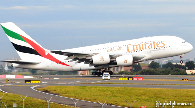 The Biggest Commercial Airplane 'Emirates Airbus A380' Landed on Ninoy Aquino International Airport