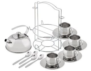 A stainless steel play tea set that contains four spoons, tea cups & sauces, a tea pot and a holding rack.