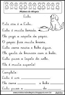 Pequenos textos para alfabetização com cão