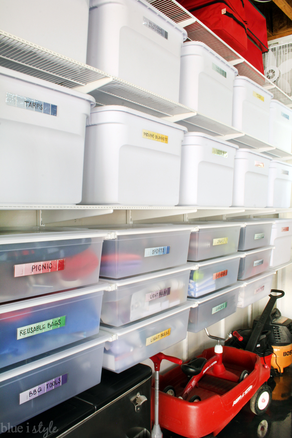 Elfa wall mounted shelves Elfa hanging drawers for garage organization