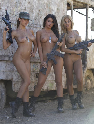 Nude military girls with guns
