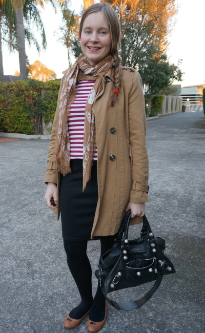 burgundy stripe tee with beige skull scarf pencil skirt camel trench coat bal part time bag | awayfromblue
