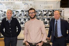 Dominic Gray, Projects Director, Opera North; DARE Prize winner Samuel Hertz; Prof John Ladbury, Dean of the Faculty of Biological University of Leeds