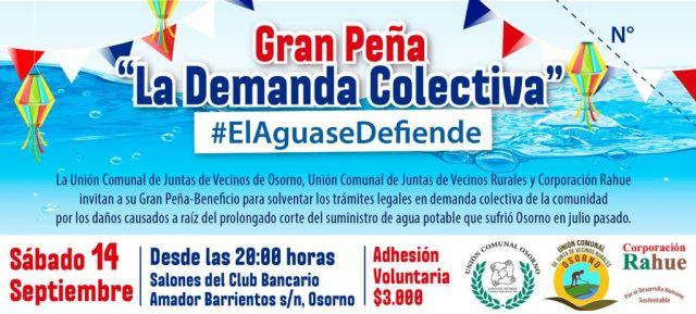 "Gran Peña ""La Demanda Colectiva"", este sábado 14"