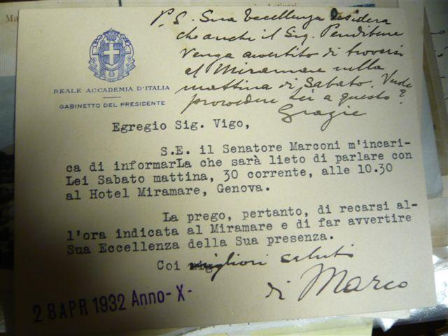 Lettera del segretario di Guglielmo Marconi