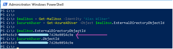 How to find AzureAD user object for its equivalent mailbox object in Powershell