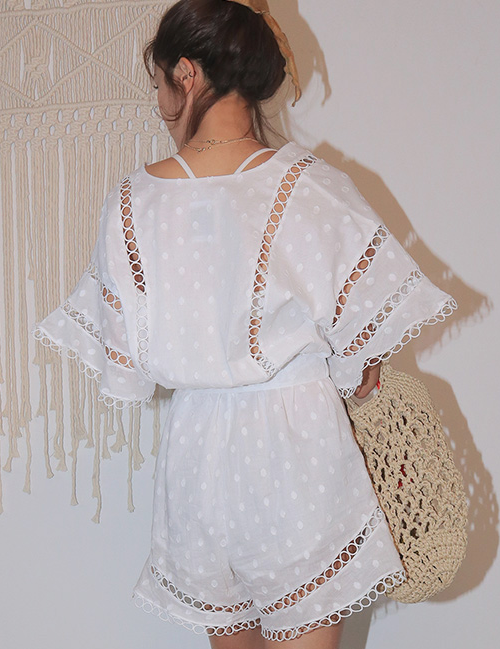 Circle Lace Insert Self-Tie Belt Romper