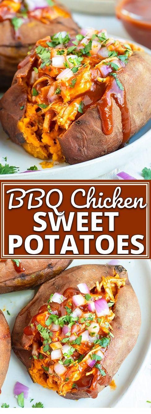 BBQ Chicken Stuffed Sweet Potatoes
