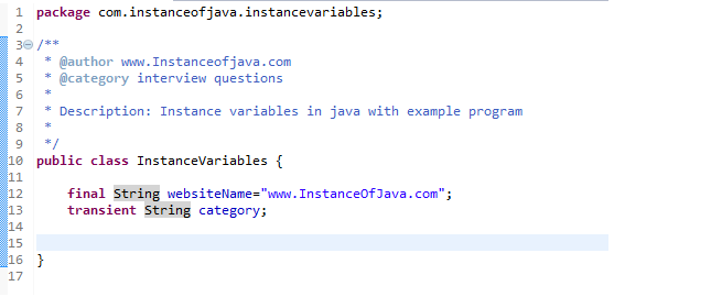 instance variables in java with example program