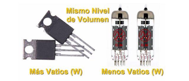 Diferencias de Potencia en Amplificadores a Válvulas y a Transistores