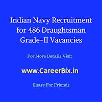 Indian Navy Recruitment for 486 Draughtsman Grade-II Vacancies