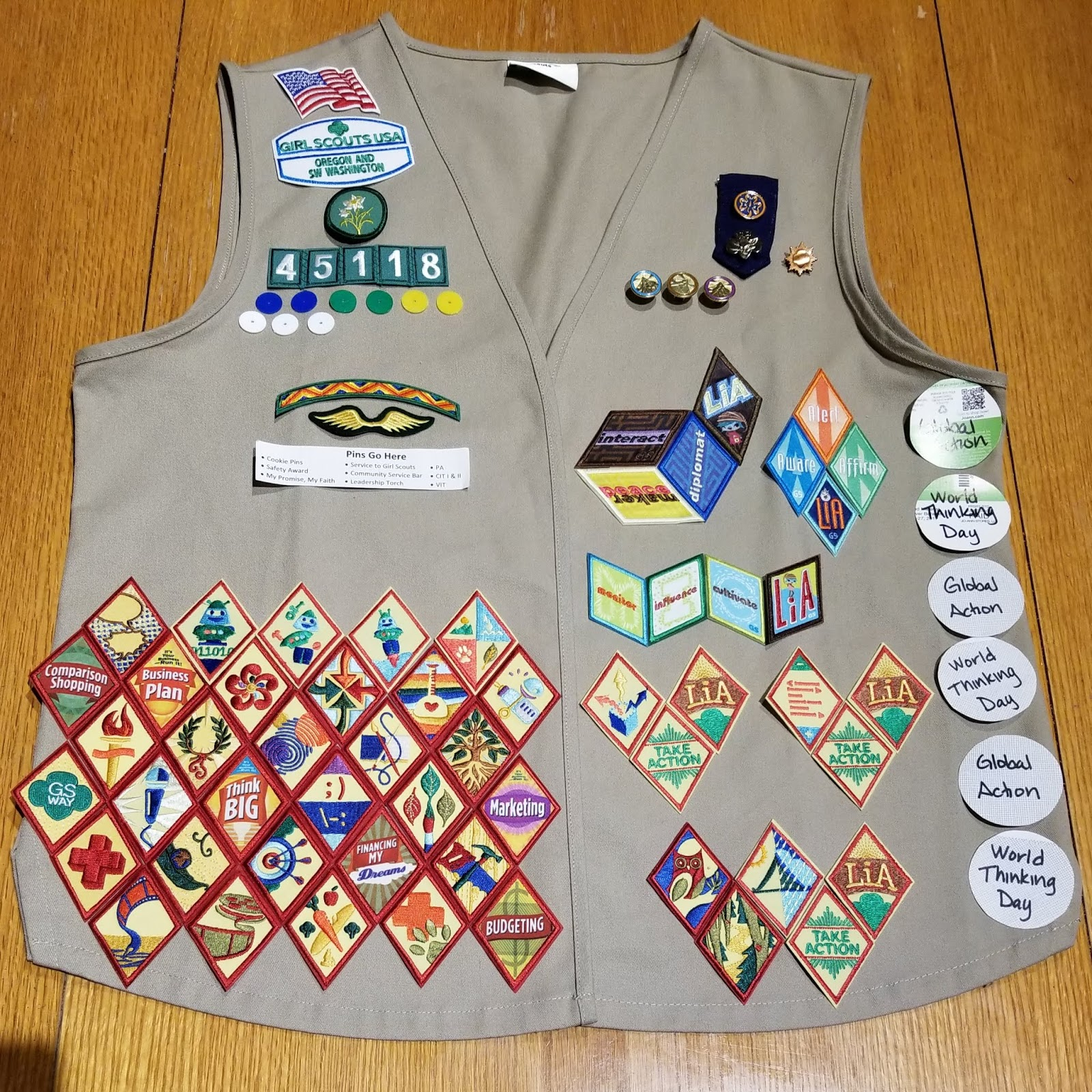 girl scout vest patch layout