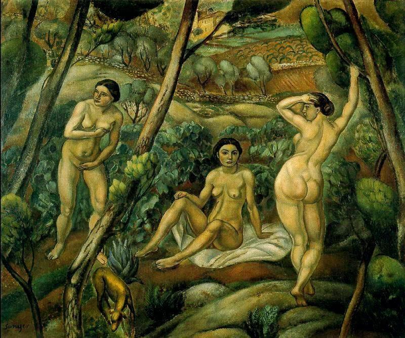 Senderismo desnudo en el bosque