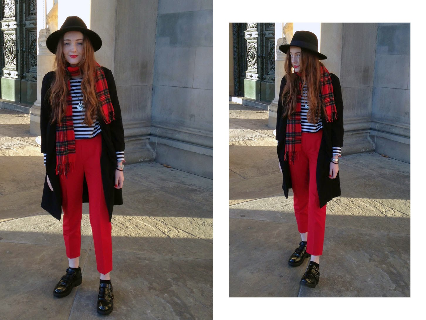 what to wear to a fashion industry interview: OOTD featuring red zara trousers, striped long sleeved top, primark black fedora and duster jacket, tartan scarf and monk shoes