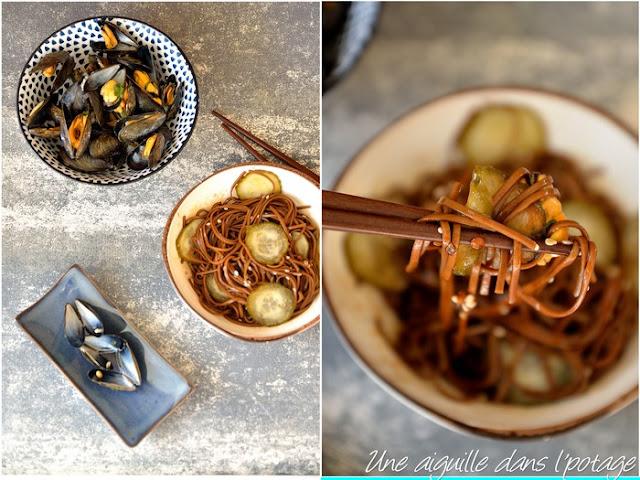 Moules au gingembre et nouilles soba
