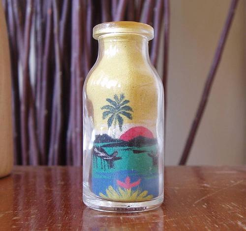 seni pasir dalam botol , seni pasir yang cantik,