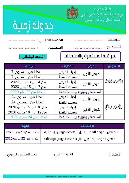 الجدولة الزمنية للمراقبة المستمرة و الامتحانات 2019-2020